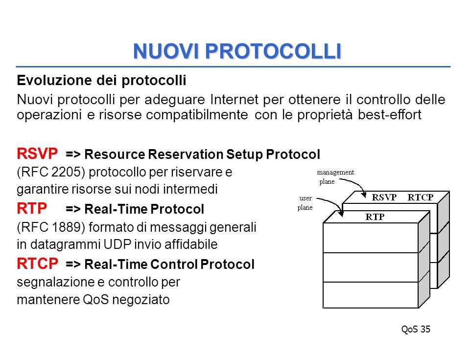 QoS 35 Evoluzione dei protocolli Nuovi protocolli per adeguare Internet per ottenere il controllo delle operazioni e risorse compatibilmente con le proprietà best-effort RSVP => Resource Reservation Setup Protocol (RFC 2205) protocollo per riservare e garantire risorse sui nodi intermedi RTP => Real-Time Protocol (RFC 1889) formato di messaggi generali in datagrammi UDP invio affidabile RTCP => Real-Time Control Protocol segnalazione e controllo per mantenere QoS negoziato NUOVI PROTOCOLLI