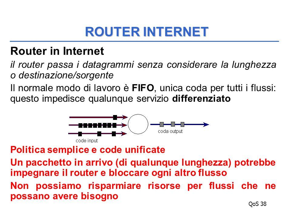 QoS 38 Router in Internet il router passa i datagrammi senza considerare la lunghezza o destinazione/sorgente Il normale modo di lavoro è FIFO, unica coda per tutti i flussi: questo impedisce qualunque servizio differenziato Politica semplice e code unificate Un pacchetto in arrivo (di qualunque lunghezza) potrebbe impegnare il router e bloccare ogni altro flusso Non possiamo risparmiare risorse per flussi che ne possano avere bisogno ROUTER INTERNET