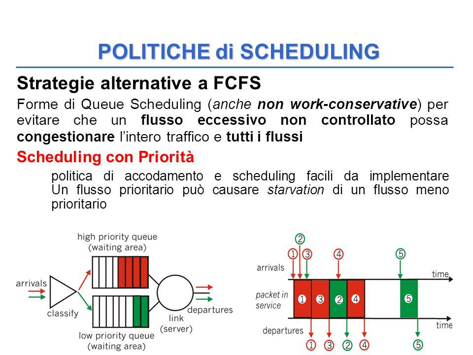QoS 49 Strategie alternative a FCFS Forme di Queue Scheduling (anche non work-conservative) per evitare che un flusso eccessivo non controllato possa congestionare l'intero traffico e tutti i flussi Scheduling con Priorità politica di accodamento e scheduling facili da implementare Un flusso prioritario può causare starvation di un flusso meno prioritario POLITICHE di SCHEDULING