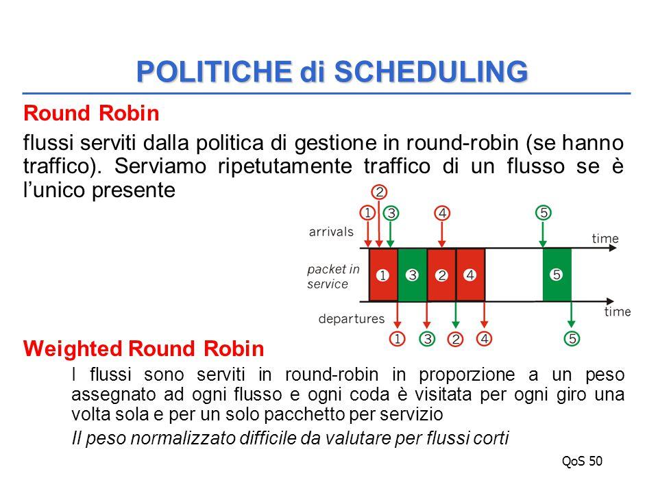 QoS 50 Round Robin flussi serviti dalla politica di gestione in round-robin (se hanno traffico).