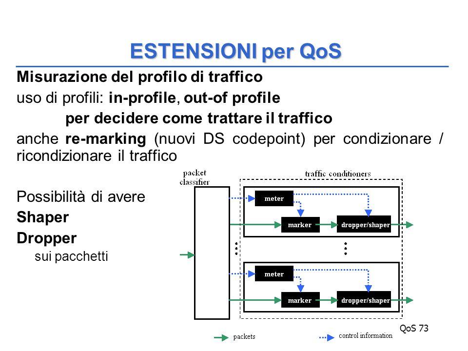 QoS 73 Misurazione del profilo di traffico uso di profili: in-profile, out-of profile per decidere come trattare il traffico anche re-marking (nuovi DS codepoint) per condizionare / ricondizionare il traffico Possibilità di avere Shaper Dropper sui pacchetti ESTENSIONI per QoS
