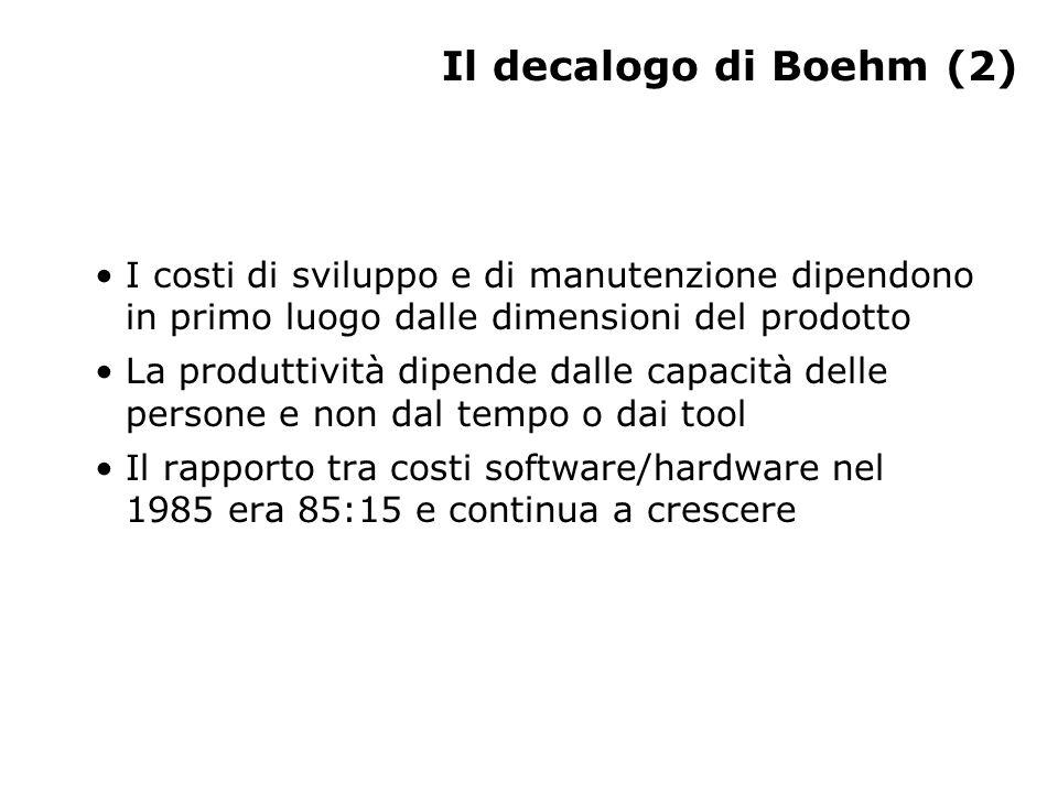 Il decalogo di Boehm (2) I costi di sviluppo e di manutenzione dipendono in primo luogo dalle dimensioni del prodotto La produttività dipende dalle capacità delle persone e non dal tempo o dai tool Il rapporto tra costi software/hardware nel 1985 era 85:15 e continua a crescere