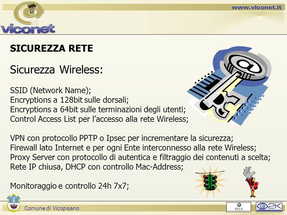 Comune di Vicopisano SICUREZZA RETE Sicurezza Wireless: SSID (Network Name); Encryptions a 128bit sulle dorsali; Encryptions a 64bit sulle terminazioni degli utenti; Control Access List per l'accesso alla rete Wireless; VPN con protocollo PPTP o Ipsec per incrementare la sicurezza; Firewall lato Internet e per ogni Ente interconnesso alla rete Wireless; Proxy Server con protocollo di autentica e filtraggio dei contenuti a scelta; Rete IP chiusa, DHCP con controllo Mac-Address; Monitoraggio e controllo 24h 7x7;