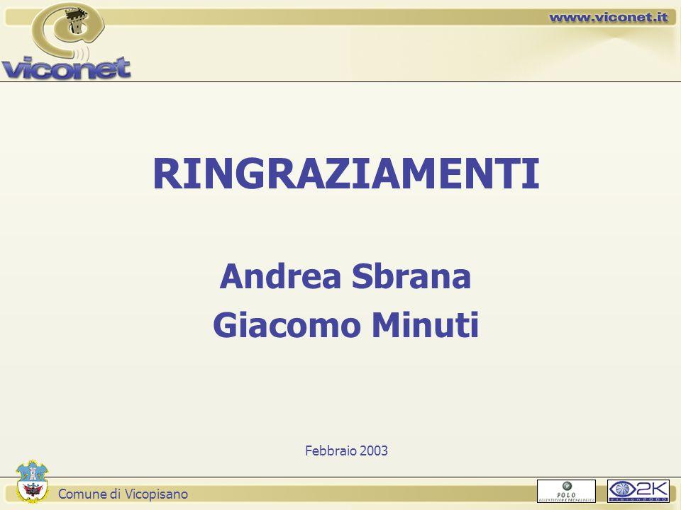Comune di Vicopisano Presentazione RINGRAZIAMENTI Andrea Sbrana Giacomo Minuti Febbraio 2003