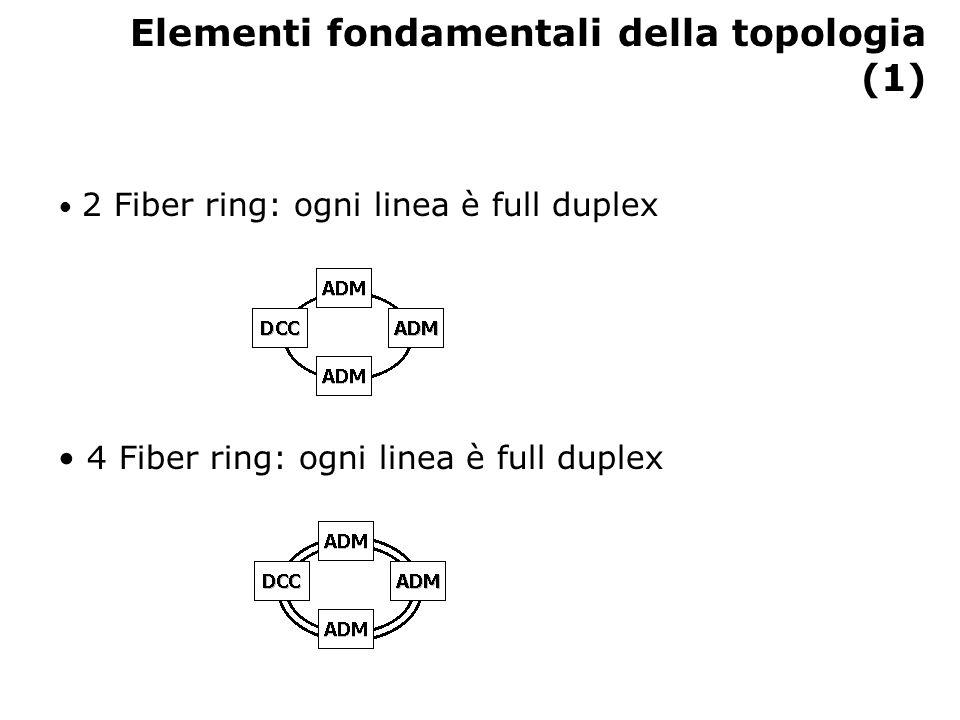 Elementi fondamentali della topologia (1) 2 Fiber ring: ogni linea è full duplex 4 Fiber ring: ogni linea è full duplex