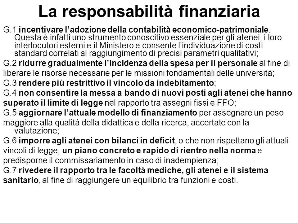 La responsabilità finanziaria G.1 incentivare l'adozione della contabilità economico-patrimoniale.