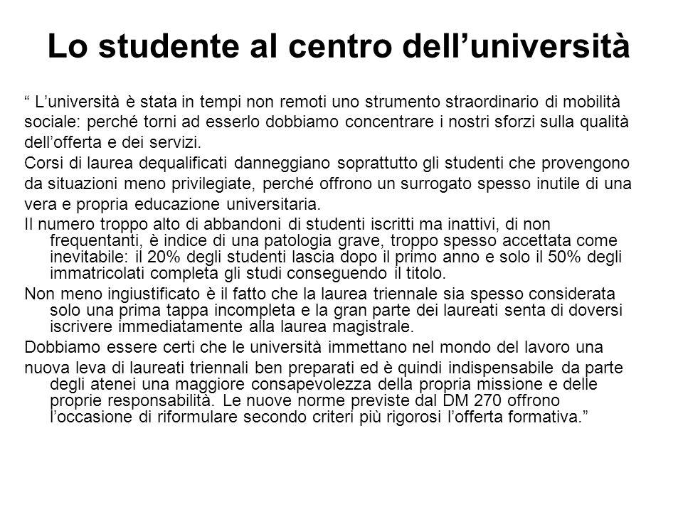 Lo studente al centro dell'università L'università è stata in tempi non remoti uno strumento straordinario di mobilità sociale: perché torni ad esserlo dobbiamo concentrare i nostri sforzi sulla qualità dell'offerta e dei servizi.
