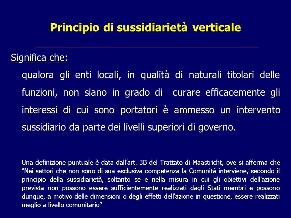 Principio di sussidiarietà verticale Significa che: qualora gli enti locali, in qualità di naturali titolari delle funzioni, non siano in grado di cur