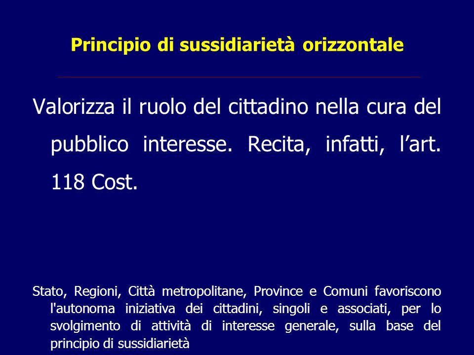 Principio di sussidiarietà orizzontale Valorizza il ruolo del cittadino nella cura del pubblico interesse. Recita, infatti, l'art. 118 Cost. Stato, Re