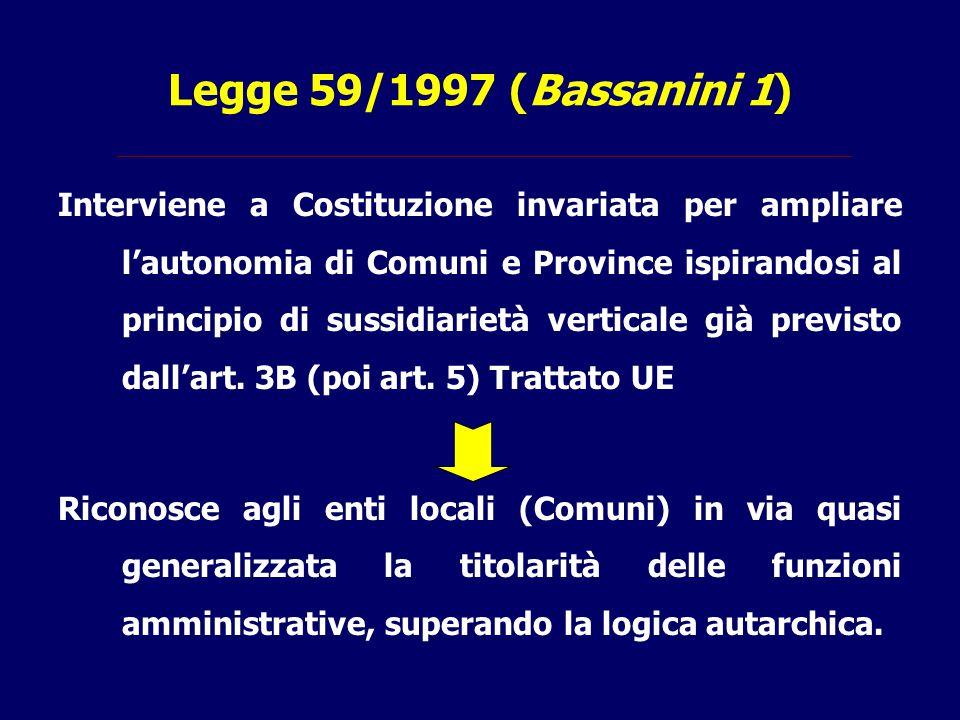 Legge 59/1997 (Bassanini 1) Interviene a Costituzione invariata per ampliare l'autonomia di Comuni e Province ispirandosi al principio di sussidiariet