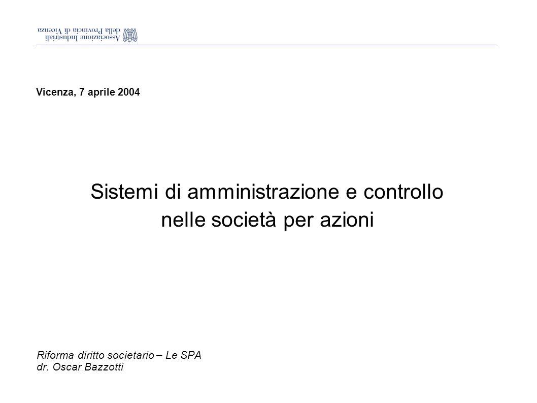 Vicenza, 7 aprile 2004 Sistemi di amministrazione e controllo nelle società per azioni Riforma diritto societario – Le SPA dr.