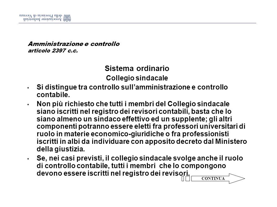 Amministrazione e controllo articolo 2397 c.c.
