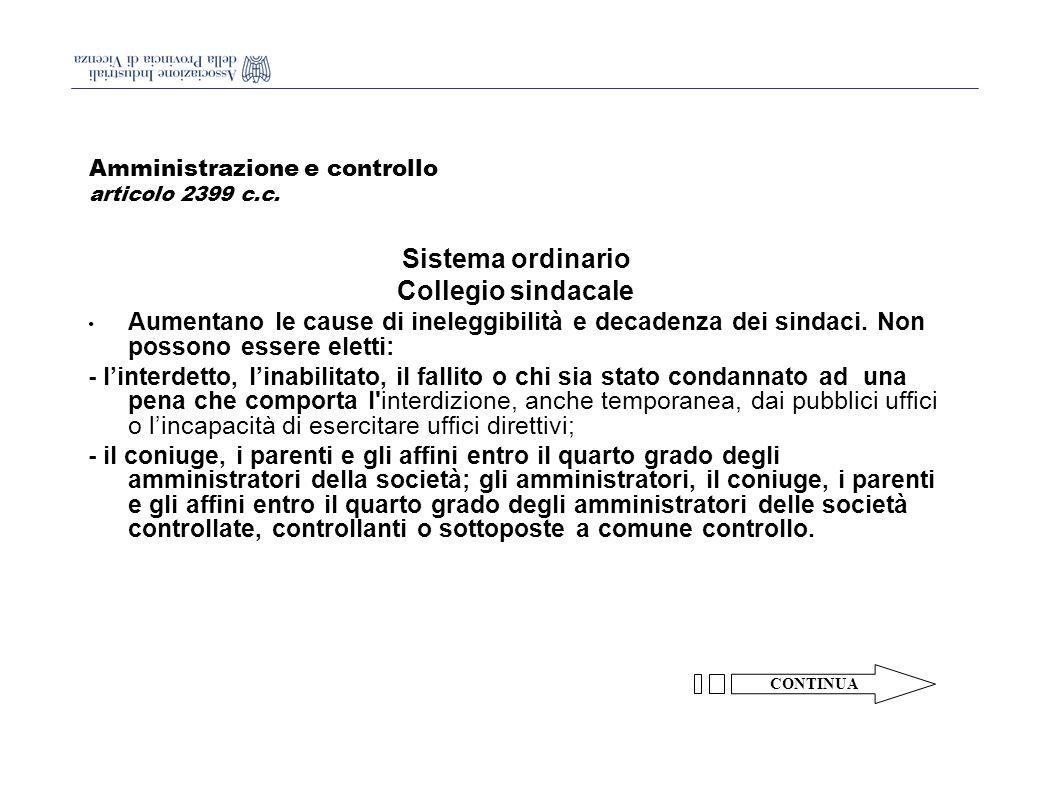 Amministrazione e controllo articolo 2399 c.c.