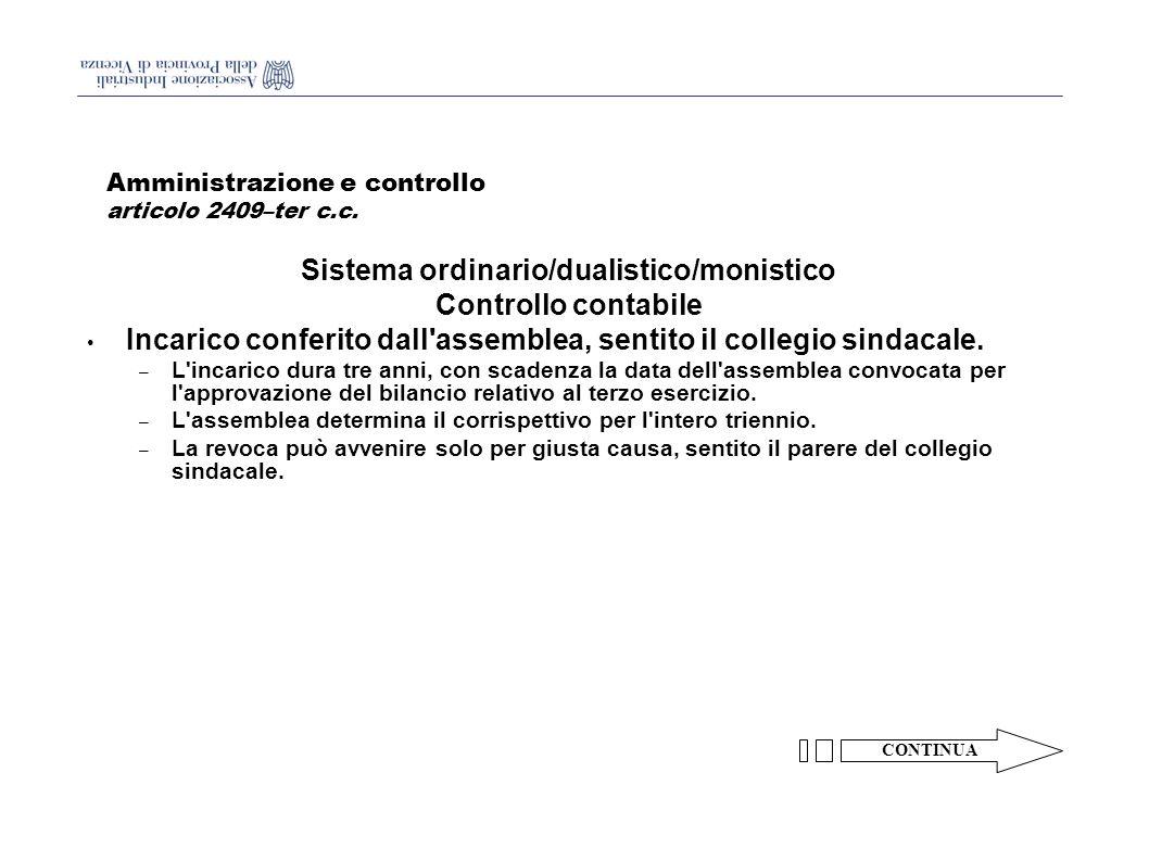 Amministrazione e controllo articolo 2409–ter c.c.