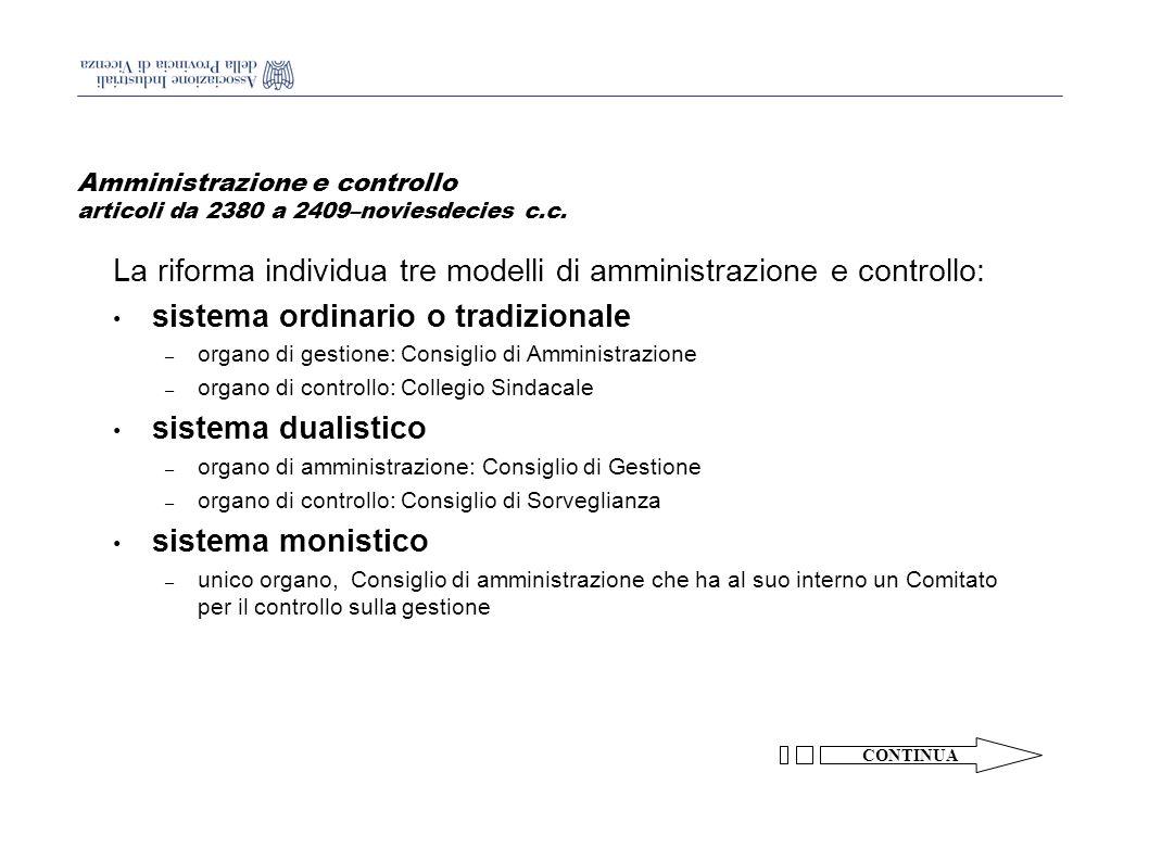 Amministrazione e controllo articoli da 2380 a 2409–noviesdecies c.c.