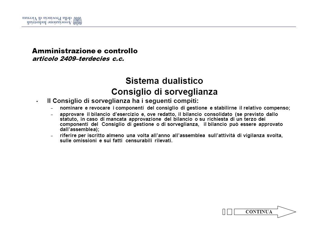 Amministrazione e controllo articolo 2409–terdecies c.c.