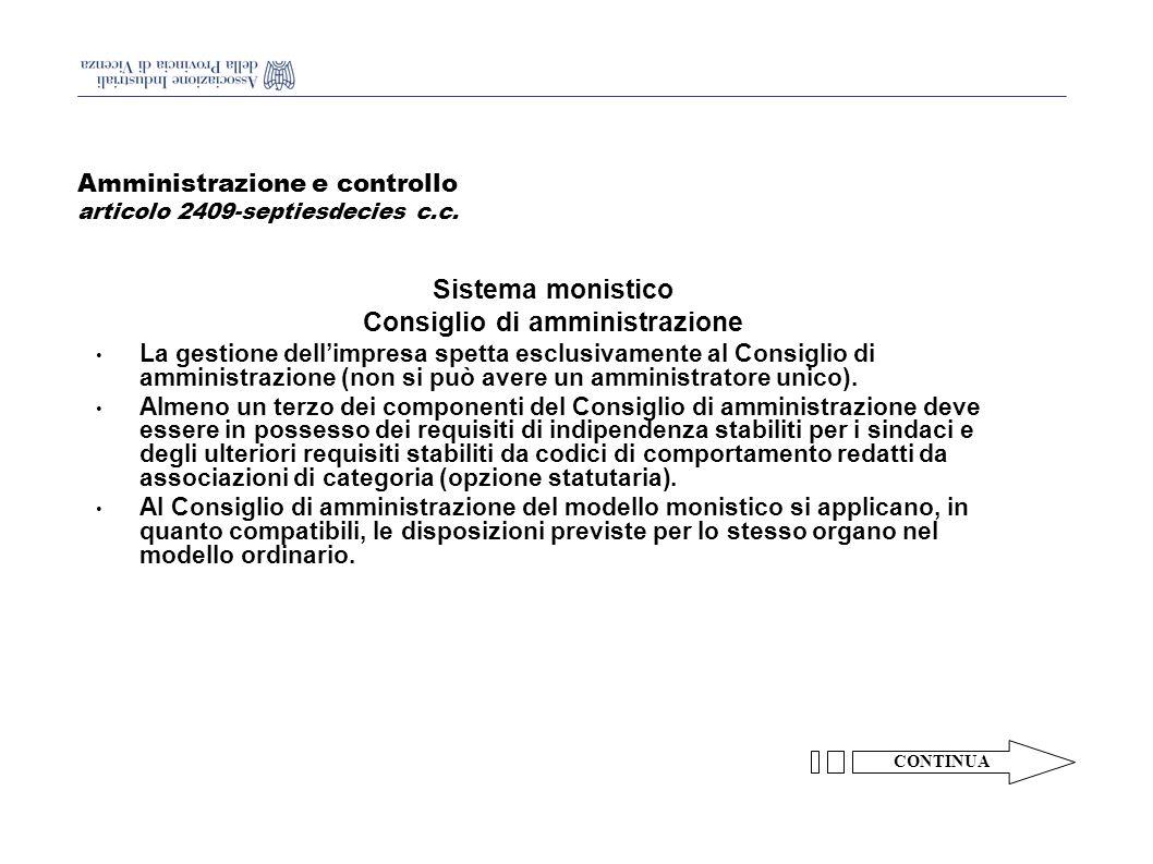 Amministrazione e controllo articolo 2409-septiesdecies c.c.