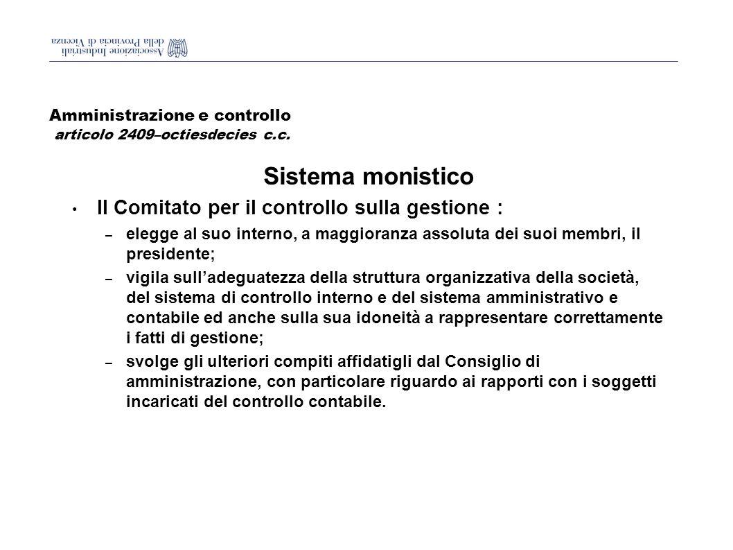 Amministrazione e controllo articolo 2409–octiesdecies c.c.