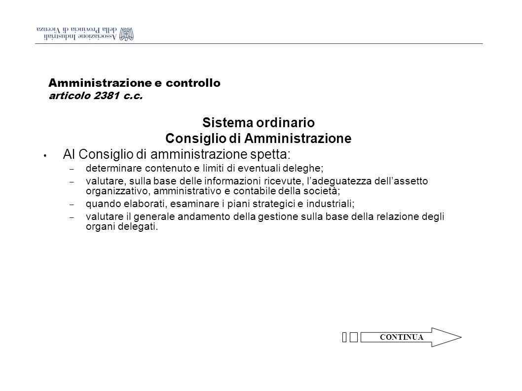 Amministrazione e controllo articolo 2381 c.c.