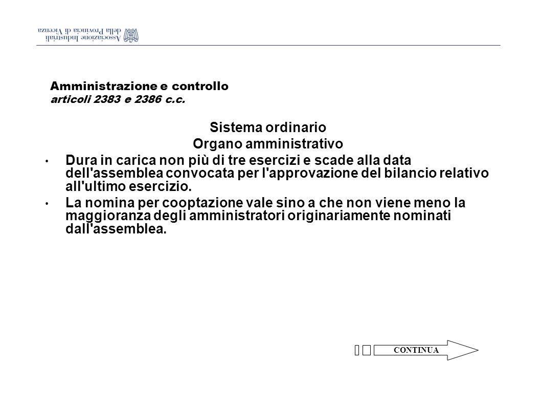 Amministrazione e controllo articoli 2383 e 2386 c.c.