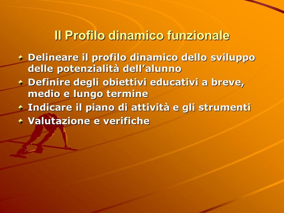 Il Profilo dinamico funzionale PDF: compilato dagli insegnanti Struttura: 1.Affettivo- relazionale: osservazione/descrizione, strumenti e proposte, verifiche 2.Autonomie 3.Comunicazionale e linguistico 4.