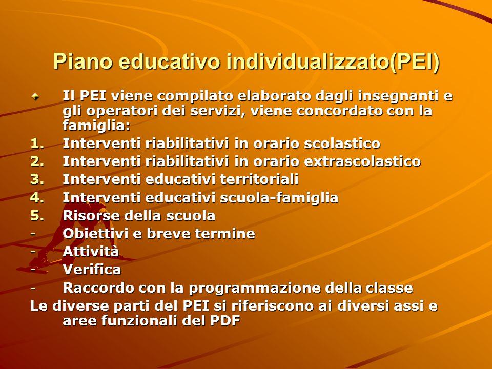 Piano educativo individualizzato(PEI) Il PEI viene compilato elaborato dagli insegnanti e gli operatori dei servizi, viene concordato con la famiglia: