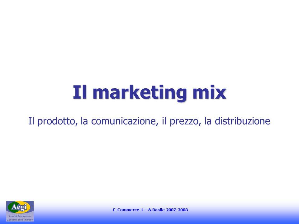 E-Commerce 1 – A.Basile 2007-2008 Il marketing mix Il prodotto, la comunicazione, il prezzo, la distribuzione
