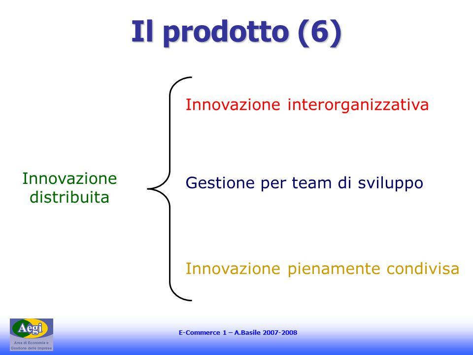 E-Commerce 1 – A.Basile 2007-2008 Il prodotto (6) Innovazione distribuita Innovazione interorganizzativa Gestione per team di sviluppo Innovazione pienamente condivisa
