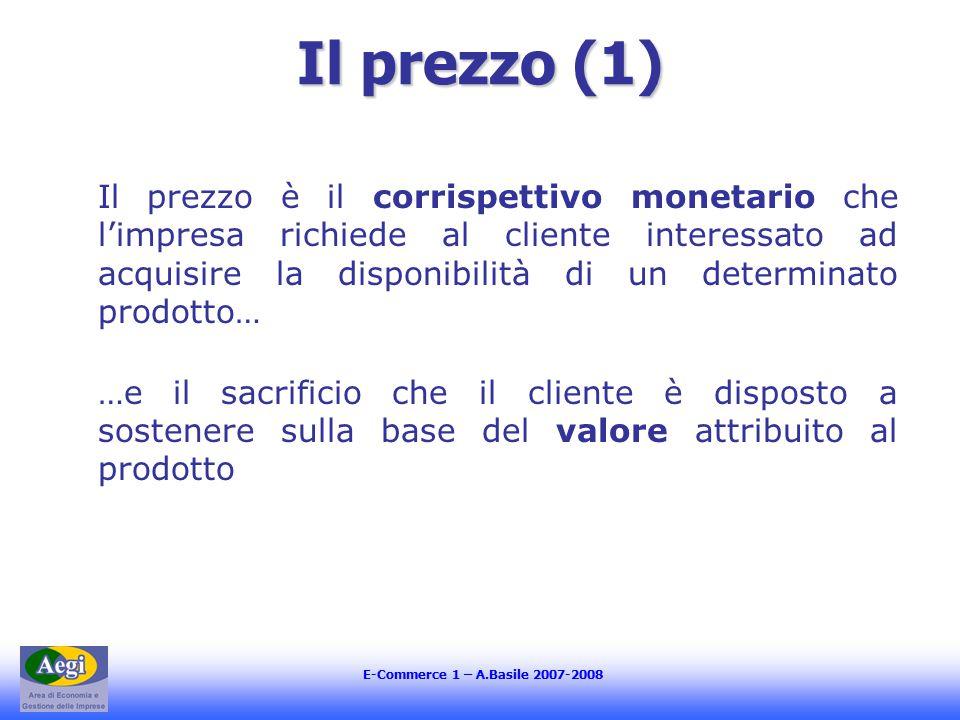 E-Commerce 1 – A.Basile 2007-2008 Il prezzo (1) Il prezzo è il corrispettivo monetario che l'impresa richiede al cliente interessato ad acquisire la disponibilità di un determinato prodotto… …e il sacrificio che il cliente è disposto a sostenere sulla base del valore attribuito al prodotto