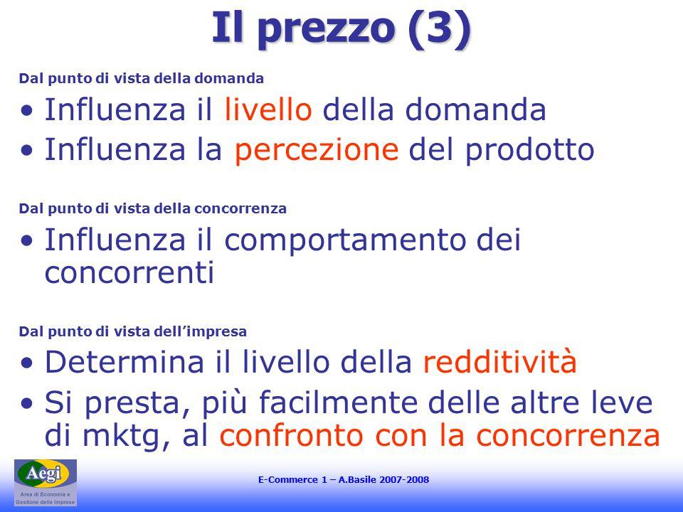 E-Commerce 1 – A.Basile 2007-2008 Il prezzo (3) Dal punto di vista della domanda Influenza il livello della domanda Influenza la percezione del prodot