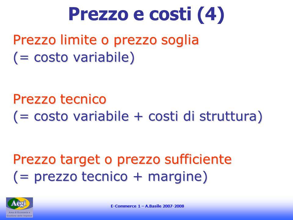 E-Commerce 1 – A.Basile 2007-2008 Prezzo e costi (4) Prezzo limite o prezzo soglia (= costo variabile) Prezzo tecnico (= costo variabile + costi di struttura) Prezzo target o prezzo sufficiente (= prezzo tecnico + margine)