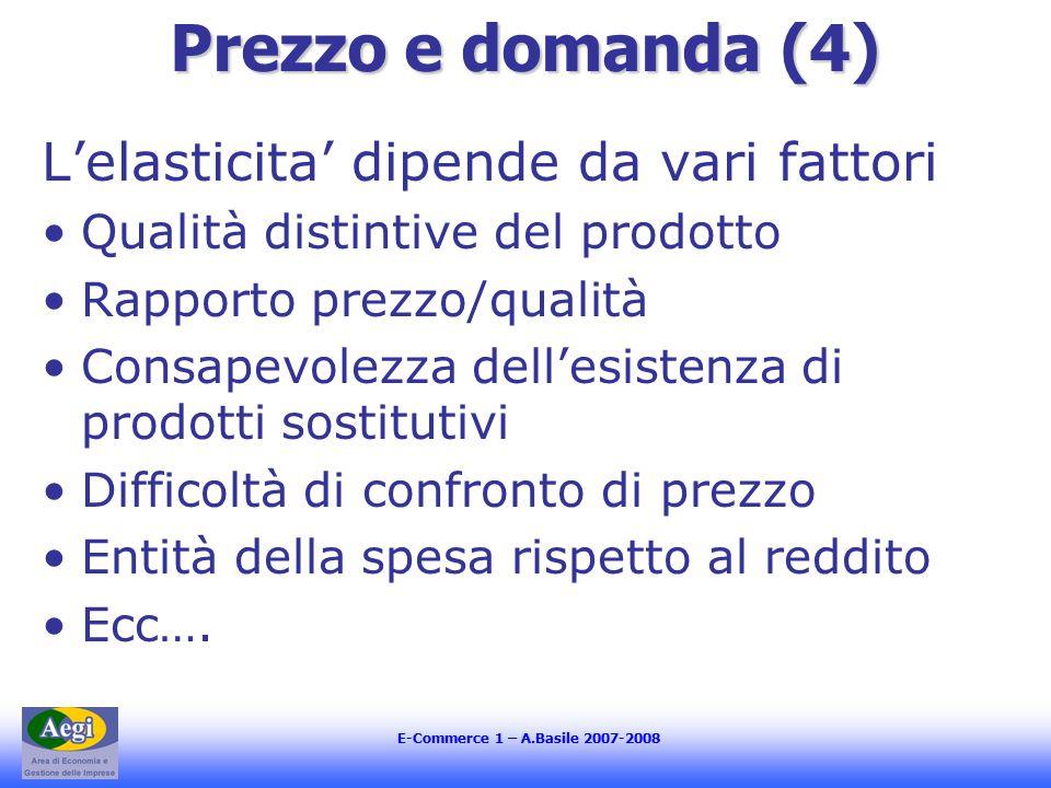 E-Commerce 1 – A.Basile 2007-2008 Prezzo e domanda (4) L'elasticita' dipende da vari fattori Qualità distintive del prodotto Rapporto prezzo/qualità C