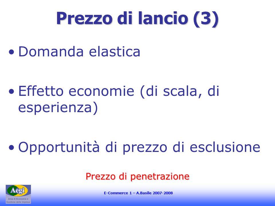 E-Commerce 1 – A.Basile 2007-2008 Prezzo di lancio (3) Domanda elastica Effetto economie (di scala, di esperienza) Opportunità di prezzo di esclusione Prezzo di penetrazione