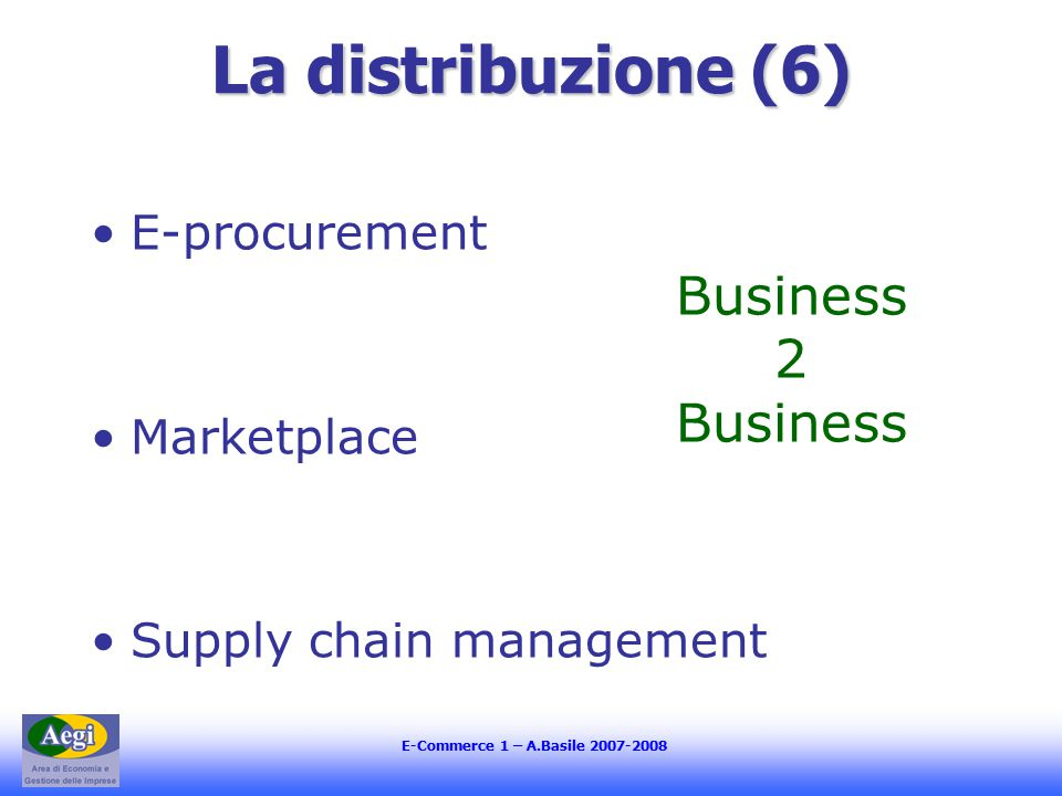 E-Commerce 1 – A.Basile 2007-2008 La distribuzione (6) E-procurement Marketplace Supply chain management Business 2 Business