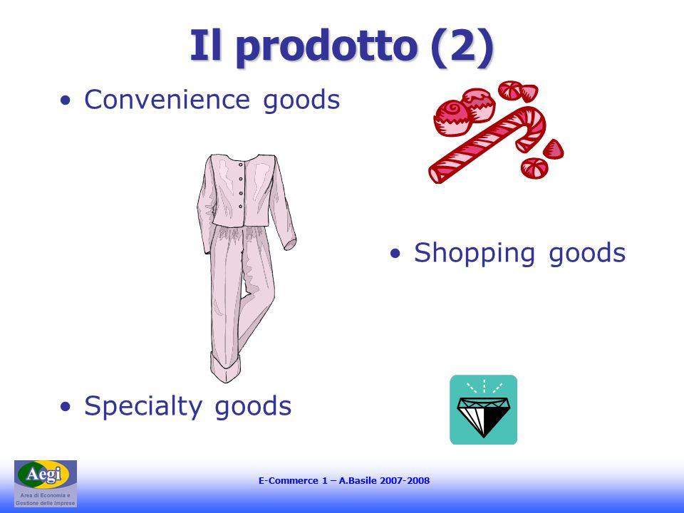 E-Commerce 1 – A.Basile 2007-2008 La distribuzione (3) Le strategie di copertura: Distribuzione intensiva Distribuzione selettiva Distribuzione esclusiva Online/ Offline Prodotto/mercato/impresa