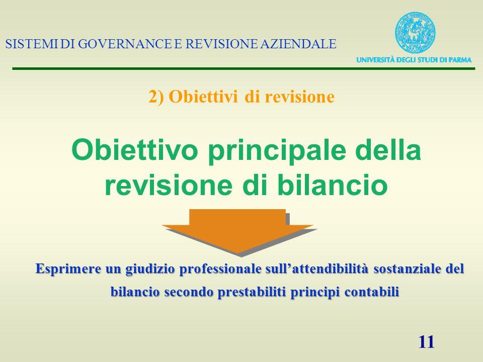 SISTEMI DI GOVERNANCE E REVISIONE AZIENDALE 11 2) Obiettivi di revisione Esprimere un giudizio professionale sull'attendibilità sostanziale del bilanc