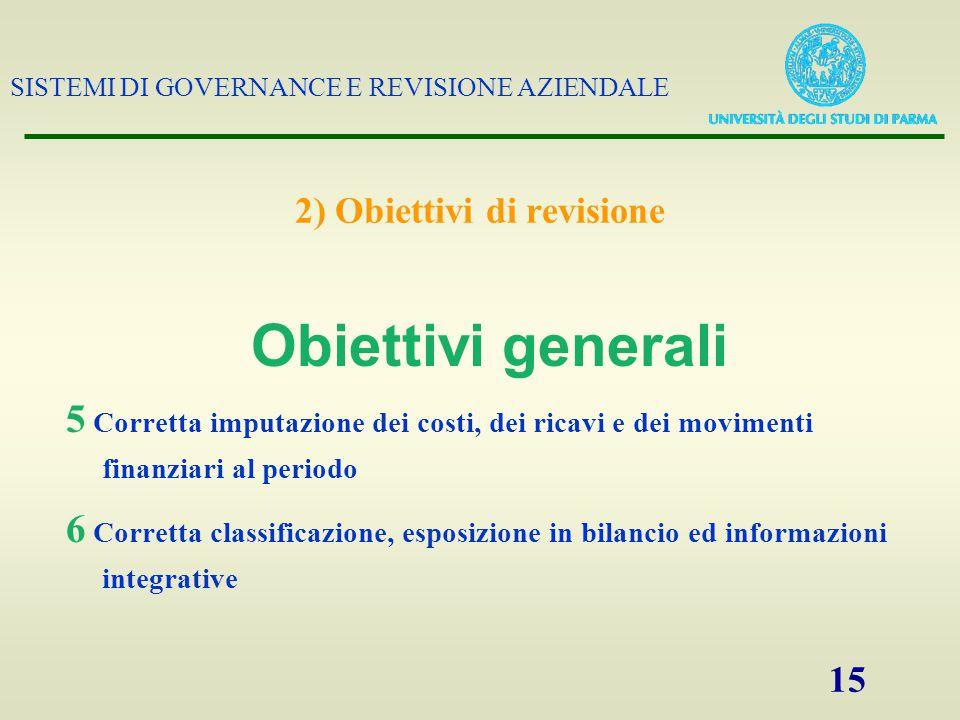 SISTEMI DI GOVERNANCE E REVISIONE AZIENDALE 15 2) Obiettivi di revisione 5 Corretta imputazione dei costi, dei ricavi e dei movimenti finanziari al pe