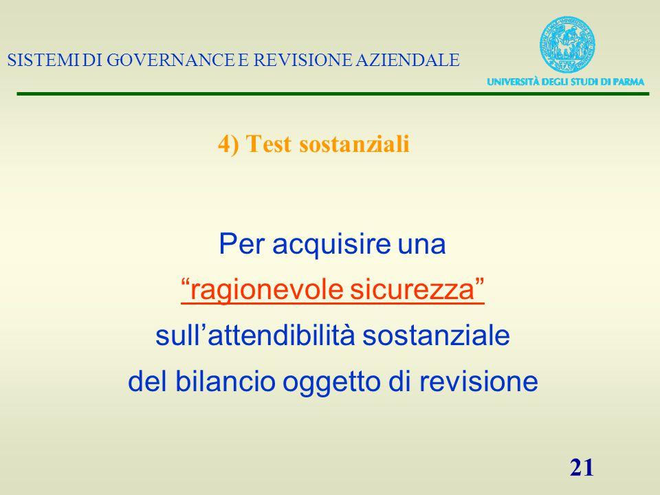 """SISTEMI DI GOVERNANCE E REVISIONE AZIENDALE 21 Per acquisire una """"ragionevole sicurezza"""" sull'attendibilità sostanziale del bilancio oggetto di revisi"""