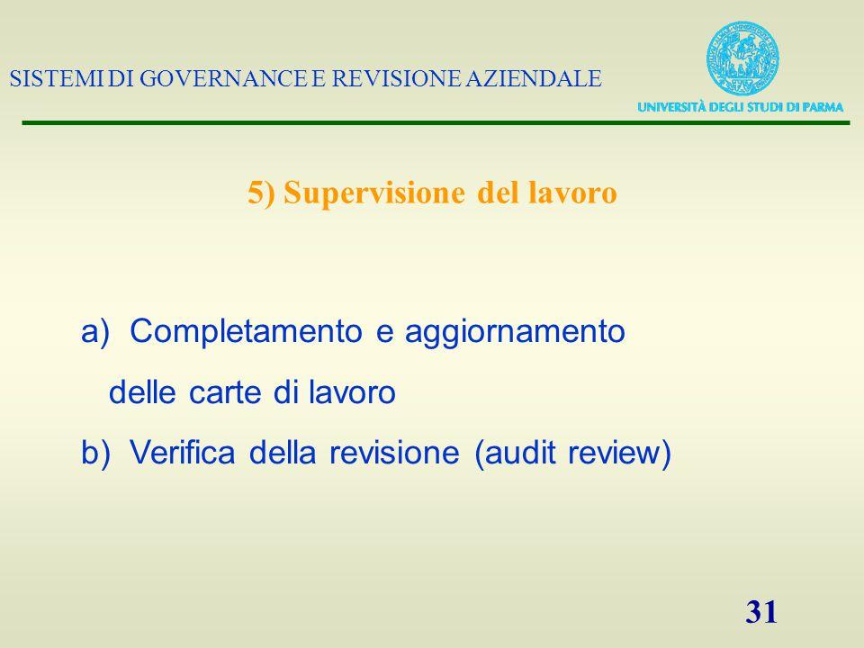 SISTEMI DI GOVERNANCE E REVISIONE AZIENDALE 31 5) Supervisione del lavoro a)Completamento e aggiornamento delle carte di lavoro b)Verifica della revisione (audit review)