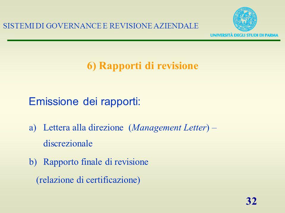 SISTEMI DI GOVERNANCE E REVISIONE AZIENDALE 32 6) Rapporti di revisione a)Lettera alla direzione (Management Letter) – discrezionale b)Rapporto finale