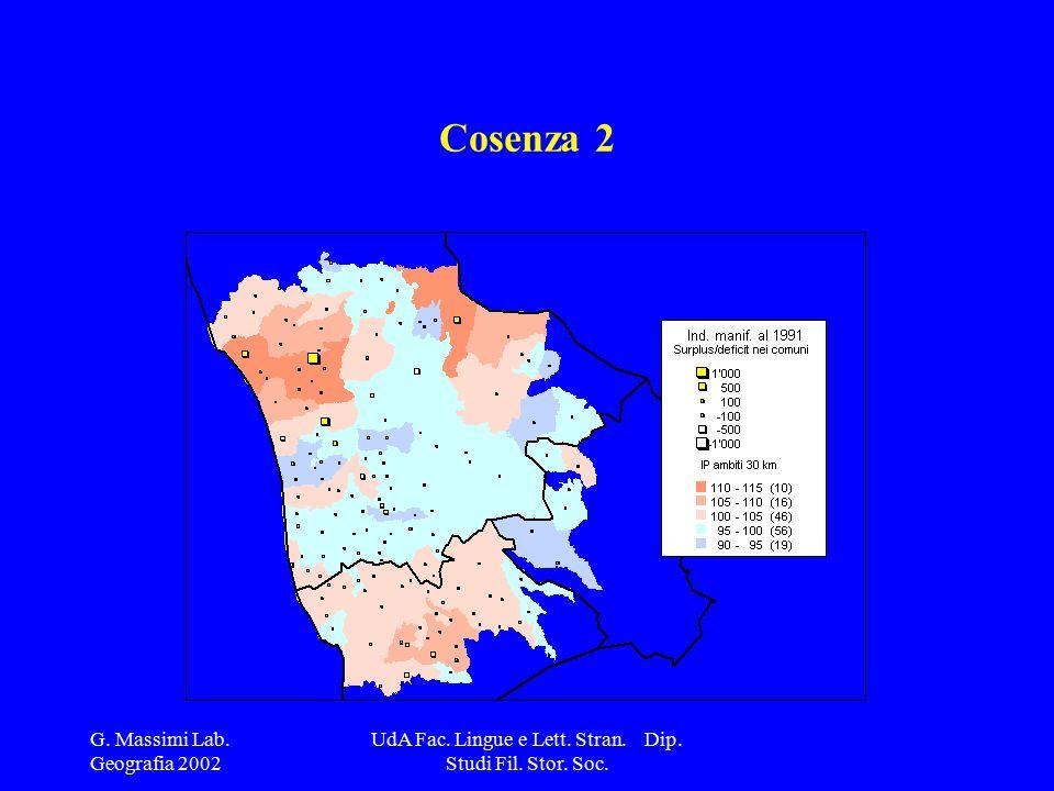 G. Massimi Lab. Geografia 2002 UdA Fac. Lingue e Lett. Stran. Dip. Studi Fil. Stor. Soc. Cosenza 2