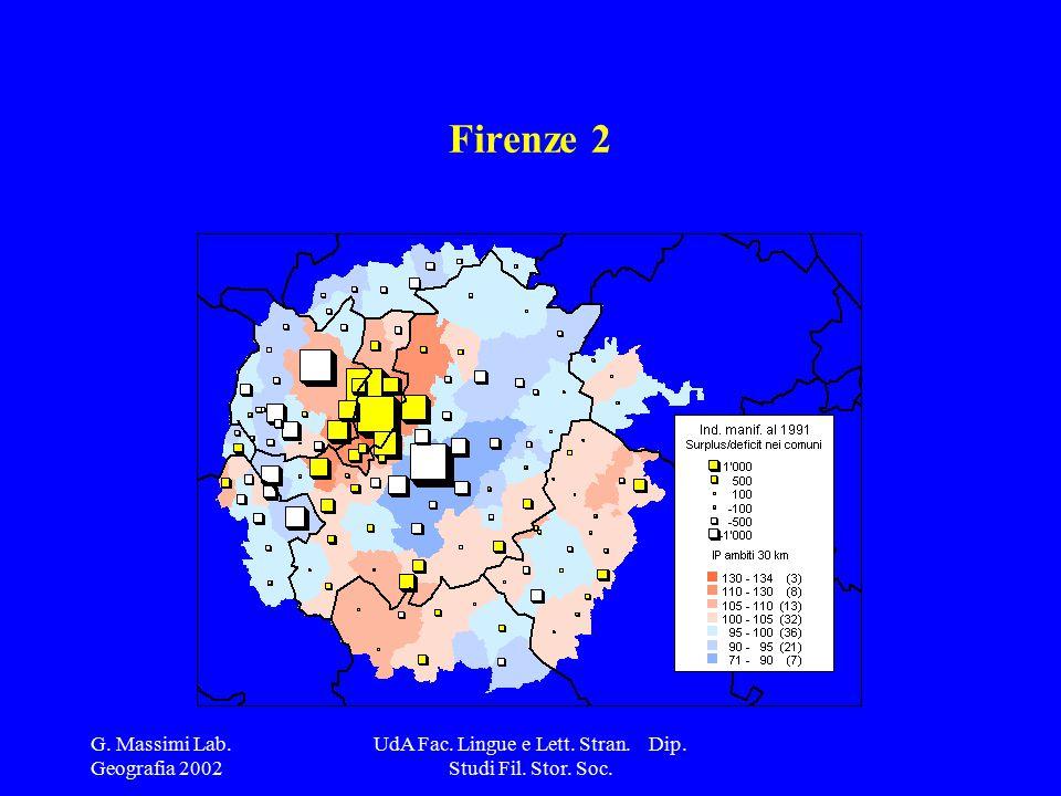G. Massimi Lab. Geografia 2002 UdA Fac. Lingue e Lett. Stran. Dip. Studi Fil. Stor. Soc. Firenze 2