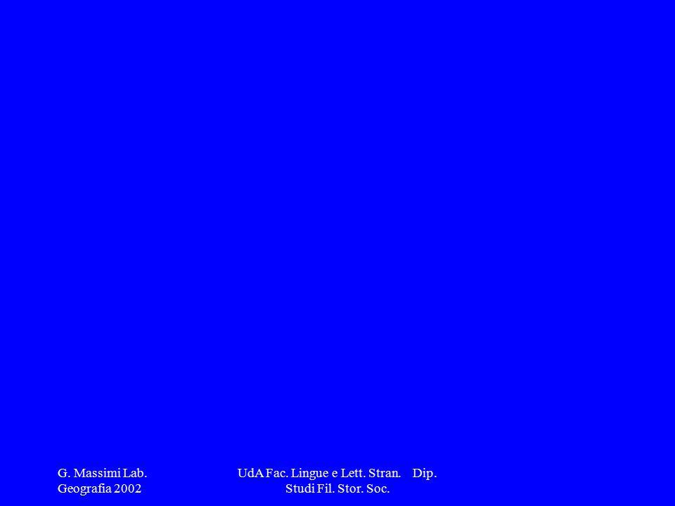 G. Massimi Lab. Geografia 2002 UdA Fac. Lingue e Lett. Stran. Dip. Studi Fil. Stor. Soc.
