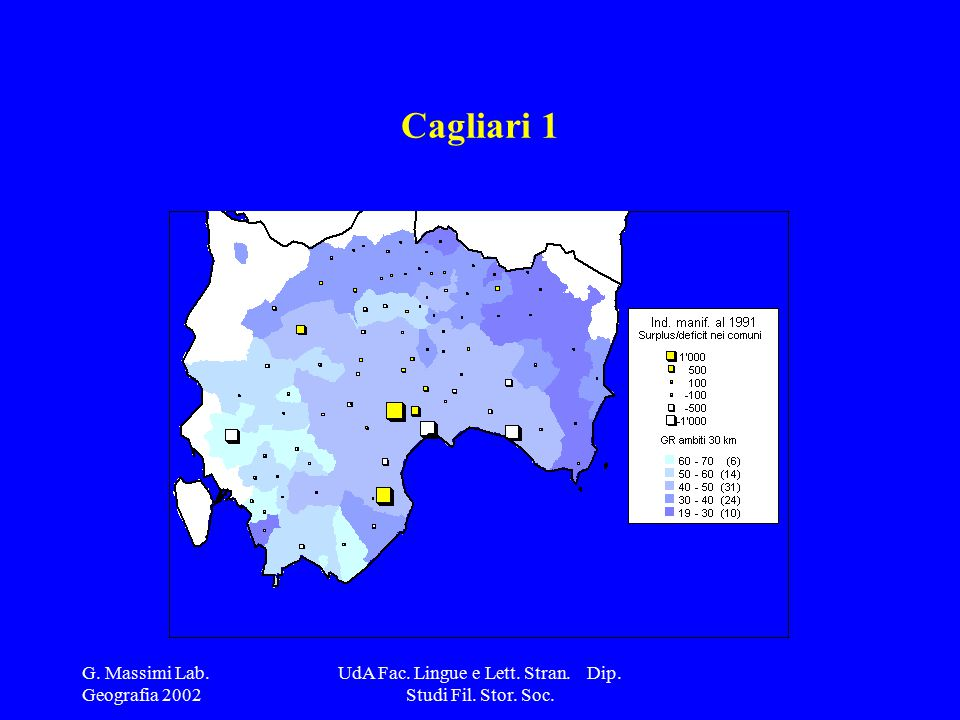 G. Massimi Lab. Geografia 2002 UdA Fac. Lingue e Lett. Stran. Dip. Studi Fil. Stor. Soc. Cagliari 1