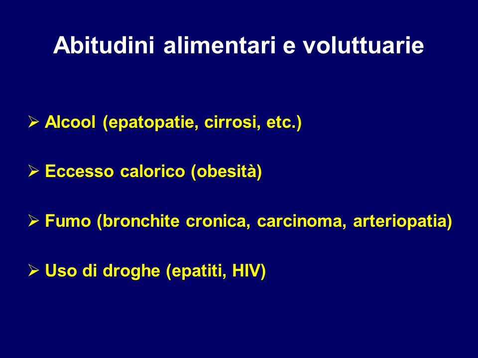 Abitudini alimentari e voluttuarie  Alcool (epatopatie, cirrosi, etc.)  Eccesso calorico (obesità)  Fumo (bronchite cronica, carcinoma, arteriopatia)  Uso di droghe (epatiti, HIV)