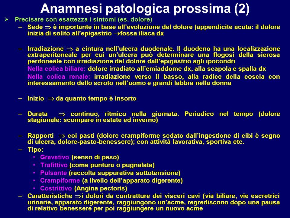 Anamnesi patologica prossima (2)  Precisare con esattezza i sintomi (es. dolore) –Sede  è importante in base all'evoluzione del dolore (appendicite