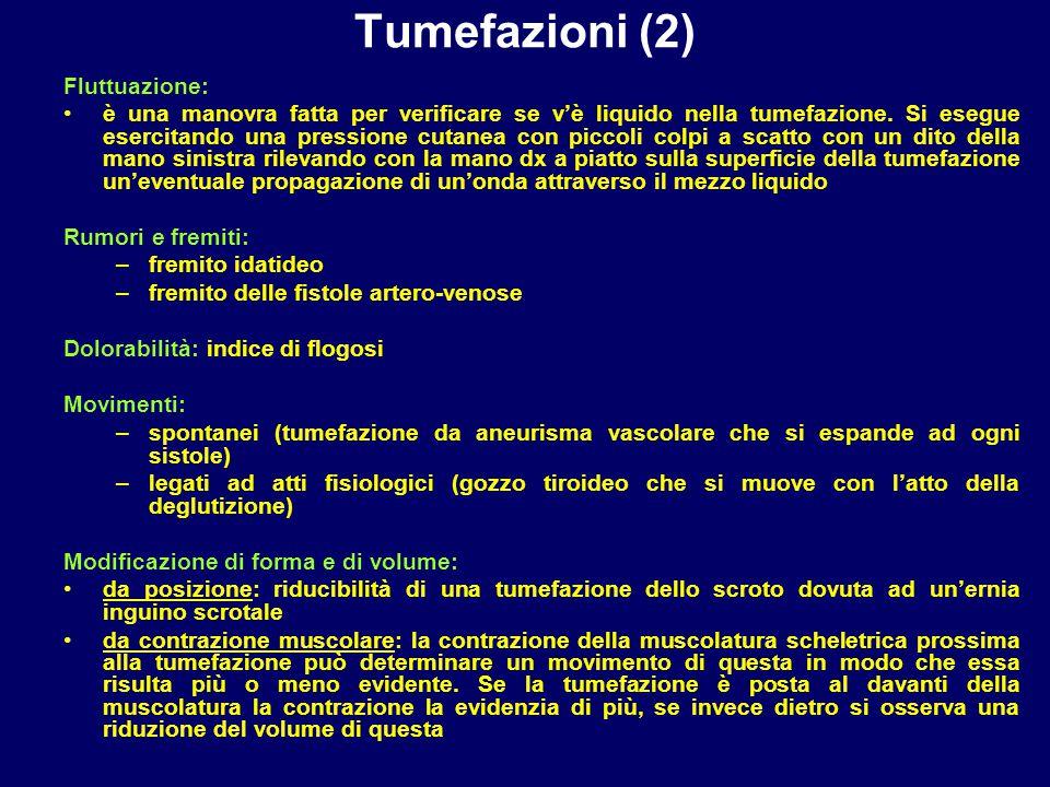 Tumefazioni (2) Fluttuazione: è una manovra fatta per verificare se v'è liquido nella tumefazione. Si esegue esercitando una pressione cutanea con pic