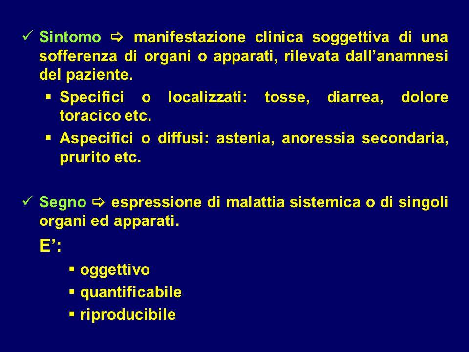 Sintomo  manifestazione clinica soggettiva di una sofferenza di organi o apparati, rilevata dall'anamnesi del paziente.  Specifici o localizzati: to