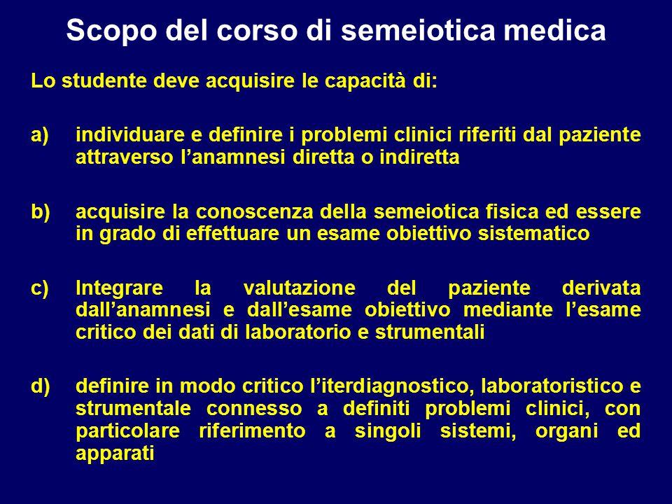 Scopo del corso di semeiotica medica Lo studente deve acquisire le capacità di: a)individuare e definire i problemi clinici riferiti dal paziente attr
