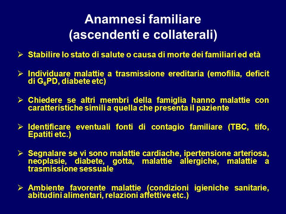 Anamnesi familiare (ascendenti e collaterali)  Stabilire lo stato di salute o causa di morte dei familiari ed età  Individuare malattie a trasmissio